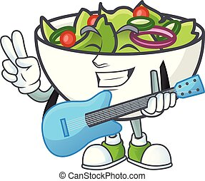 Delicious salad of the with guitar cartoon character