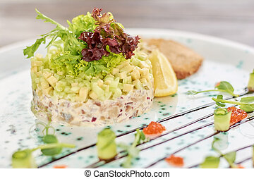 Delicious salad with herring.