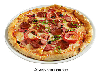 Delicious, salami and sausage pizza