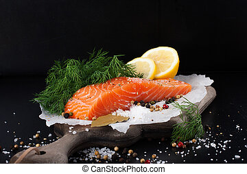 Delicious salmon fillet, rich in omega 3 oil, aromatic ...