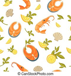 Delicious salmon, king shrimp and exotic oysters in seamless pattern
