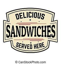Delicious sandwiches label or icon