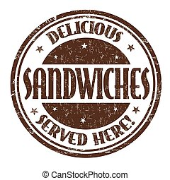 Delicious sandwiches sign or stamp