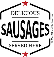 delicious sausage vintage rubber stamp web icon on white background