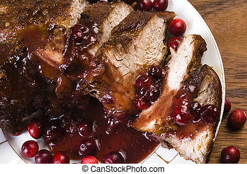 Delicious Scrambled Grilled meat with cranberry sauce