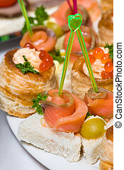 seafood canapes - delicious seafood canapes with salmon and...