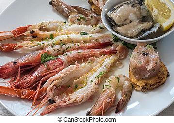 Delicious seafood carpaccio with langoustines