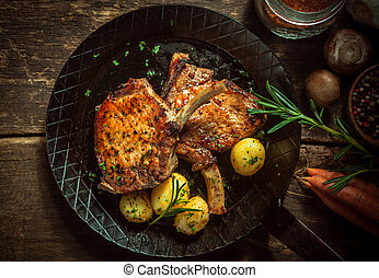 Delicious seasoned pan fried pork cutlets