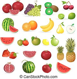delicious set of fresh fruits and berries for your design