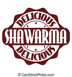 Delicious shawarma stamp or label on white, vector...