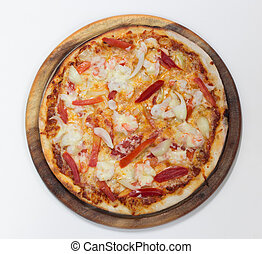 Delicious shrimp pizza top view on white background