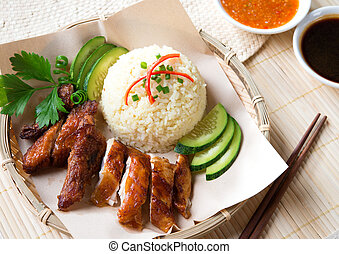 Delicious Singapore chicken rice. Asian style Hainan chicken...