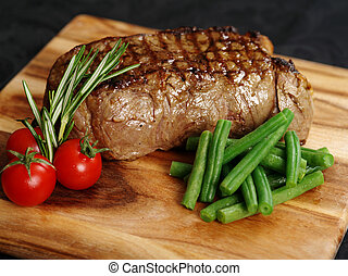 Delicious sirloin steak dinner - Photo of a thick sirloin...