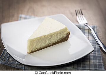 delicious slice of cheesecake on a plate