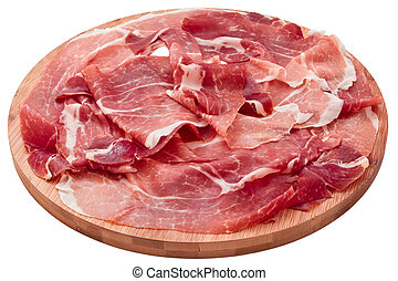 delicious sliced ham on wooden board isolated on white...