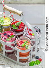 Delicious smoothie with fresh fruits
