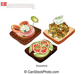 Danish Cuisine, Illustration of Smorrebrod or Traditional Buttered Rye Bread or Dark Rye Bread Topped with Different Kind of Meat and Vegetable. The National Dish of Denmark.