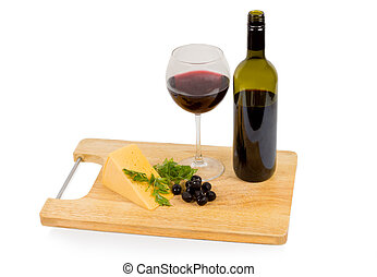 Delicious snack of wine and olives