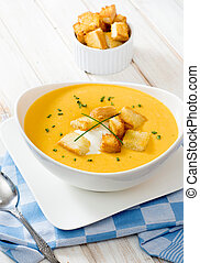 Delicious soup and crutons - Delicious pumpkin soup and...