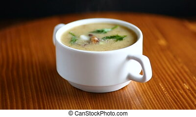 Delicious soup puree with wild mushrooms