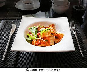 Delicious spaghetti in plate