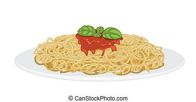 Delicious Spaghetti isolated on white