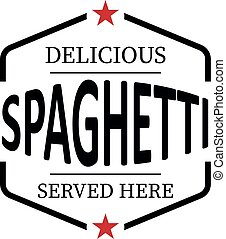 delicious spaghetti vintage rubber stamp web icon on white background