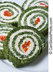 Delicious spinach rolls with cream cheese macro vertical