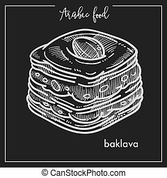 Delicious square piece of baklava from Arabic food. Confectionery made of puff pastry with nuts in sweet syrup or honey isolated cartoon monochrome flat vector illustration