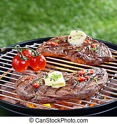 Delicious steak grilling on a barbecue - Delicious portion ...