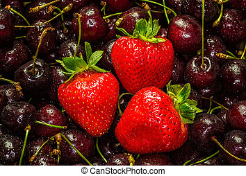 Delicious Strawberries and Cherries