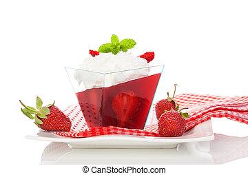 Delicious strawberry jelly dessert. - Delicious strawberry...