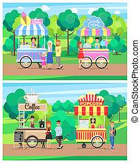 Fast food at park  Hot dog cart and gardening stand at city