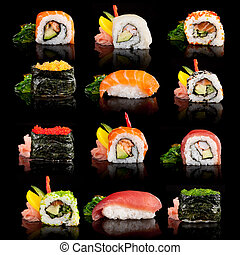 Delicious sushi pieces - Delicious sushi, maki, nigiri...