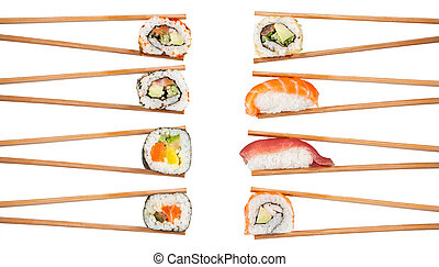 Delicious sushi pieces