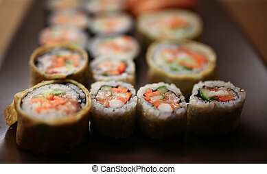 Delicious sushi pieces on a plate