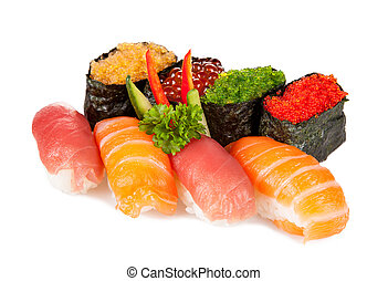 Delicious sushi pieces - Various kinds of sushi food served...