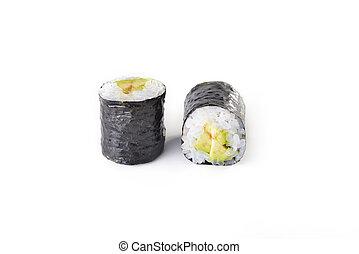 Delicious sushi rolls on white background