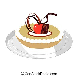 delicious sweet apple pie vector illustration design