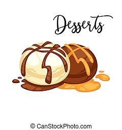 Delicious sweet dessert. Vector cartoon Illustration