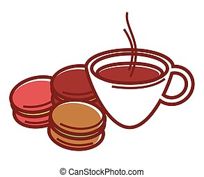Delicious sweet macaroons and cup of hot coffee with steam...