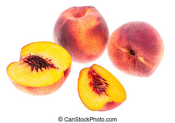 Delicious sweet ripe peach whole and slices on white