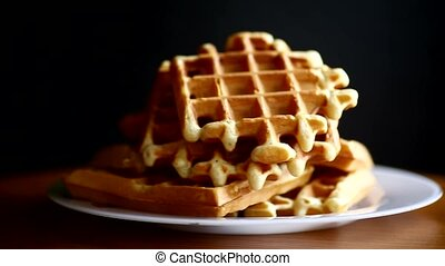 delicious sweet waffles with jam