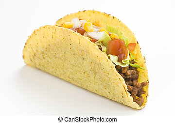 delicious taco, mexican food isolated over white