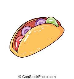 delicious taco on white background