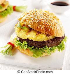Delicious teriyaki pineapple burger