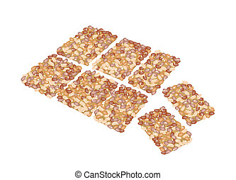 Illustration of Peanut Biscuits Made of Peanut or Groundnut, Rice and Sesame, Thai Snack of Dietary Fiber, Vitamins and Minerals.