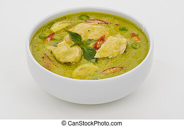 green curry in a white bowl - delicious thai food: green ...