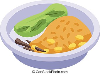 Delicious thai food icon, isometric style