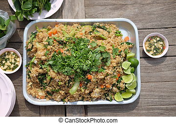 Delicious Thai local food style fried rice in big tray on...
